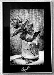 Картина в рамке «Роза в стакане»