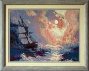 Картина «Буря на море ночью»,  ручная работа,  вышивка.